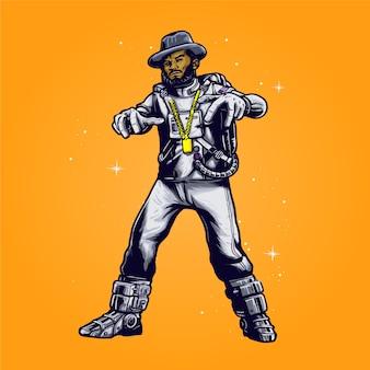 Astronauta de hip hop com ilustração de chapéu de caubói