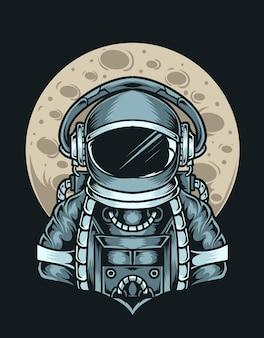 Astronauta de ilustração com a lua