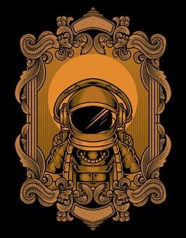Astronauta de ilustração em moldura de ornamento de gravura vintage