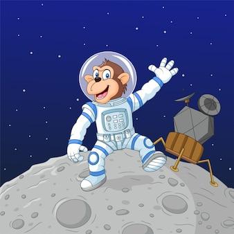 Astronauta de macaco dos desenhos animados na lua