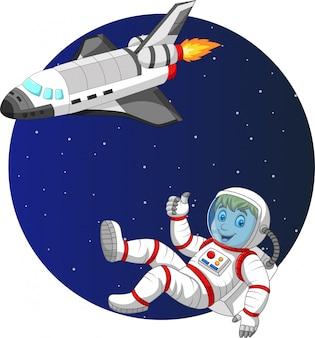 Astronauta de menino dos desenhos animados com ônibus espacial