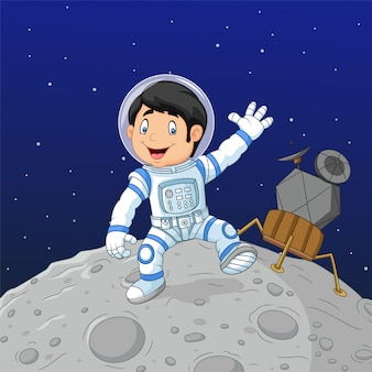 Astronauta de menino dos desenhos animados na lua