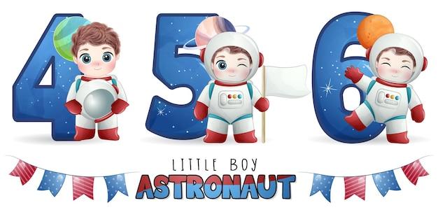 Astronauta de menino fofo com conjunto de ilustração de numeração Vetor Premium