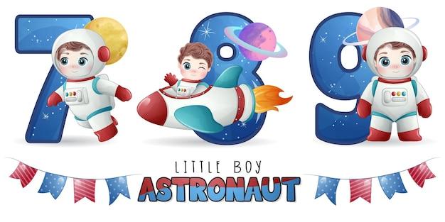 Astronauta de menino fofo com conjunto de ilustração de numeração