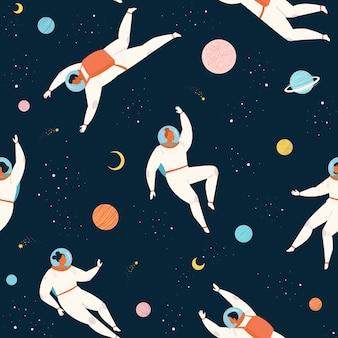 Astronauta de mulher e homem de padrão de aventura espacial exploram o padrão sem emenda do cosmos.