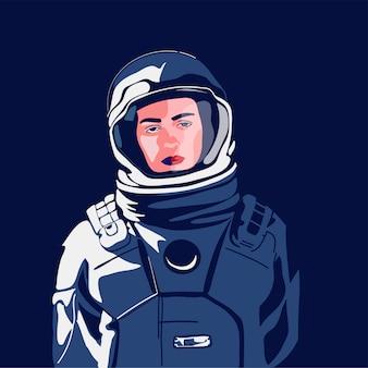 Astronauta de mulher em traje espacial