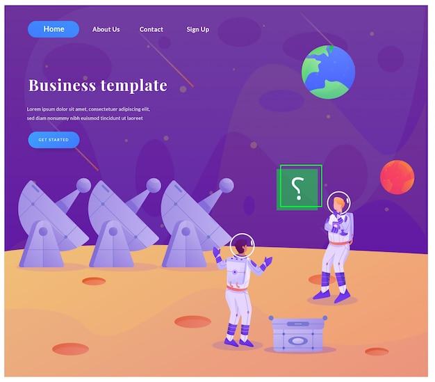 Astronauta de página de destino da web de negócios