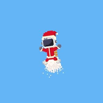 Astronauta de pixel com fantasia de papai noel