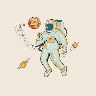 Astronauta de vetor vintage no espaço, planeta e estrelas. ficção científica, ilustração de mão desenhada