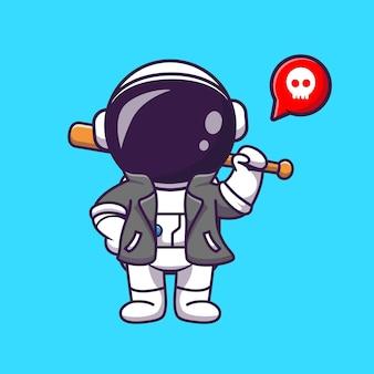 Astronauta descolado com taco de beisebol e jaqueta