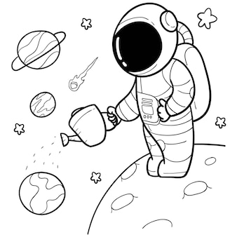 Astronauta desenhada de giro de mão