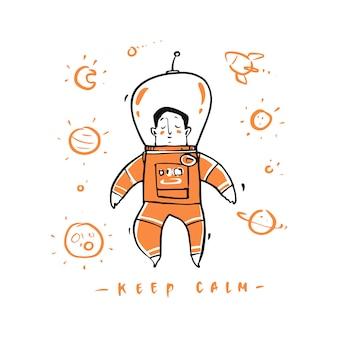 Astronauta desenhada de mão no espaço sideral.