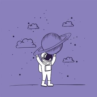 Astronauta desenhar com o planeta