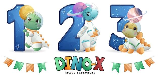 Astronauta dinossauro fofo com conjunto de ilustração de numeração