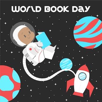 Astronauta do dia mundial do livro lendo no espaço