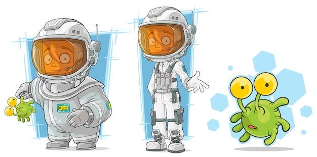 Astronauta dos desenhos animados com caráter alienígena