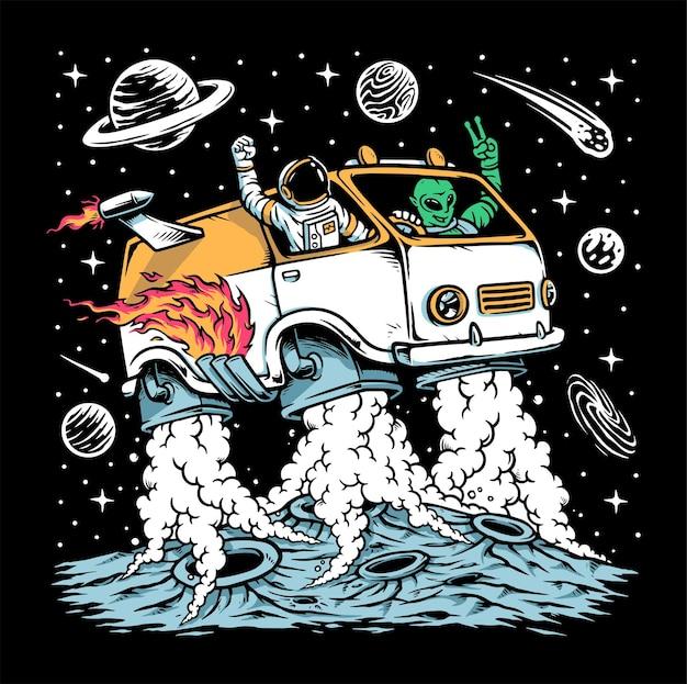 Astronauta e alienígena dirigindo ilustração de carro espacial