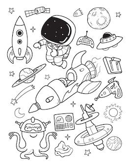 Astronauta e alienígena doodle na hora do espaço