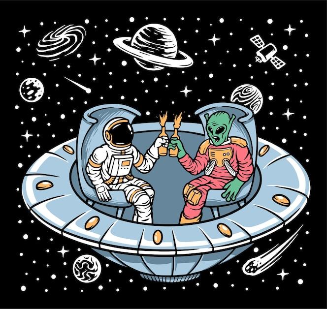Astronauta e alienígena relaxando juntos na ilustração de ovnis