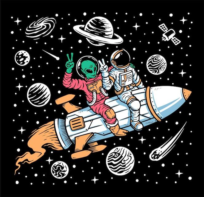 Astronauta e alienígena viajam em ilustração de foguetes