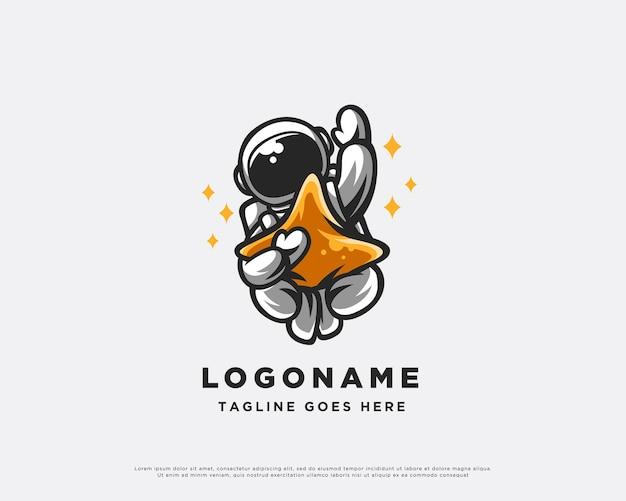 Astronauta e design de logotipo de estrela