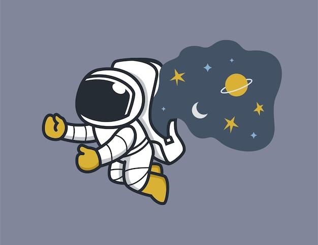 Astronauta e estrelas