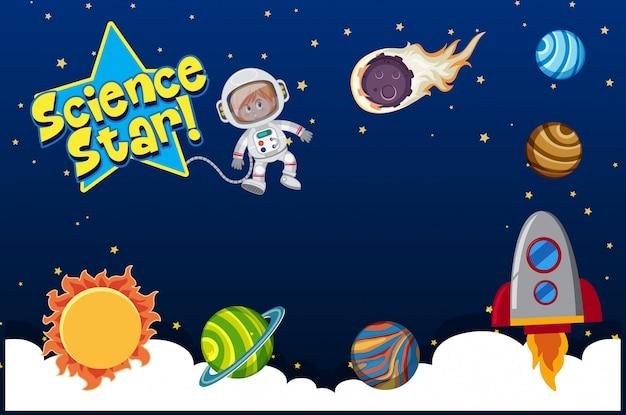 Astronauta e muitos planetas no sistema solar