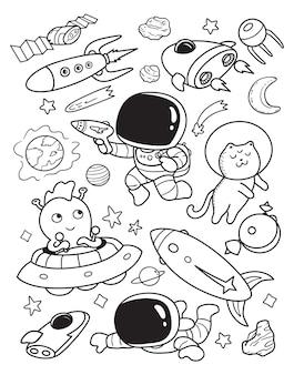 Astronauta e ufo doodle
