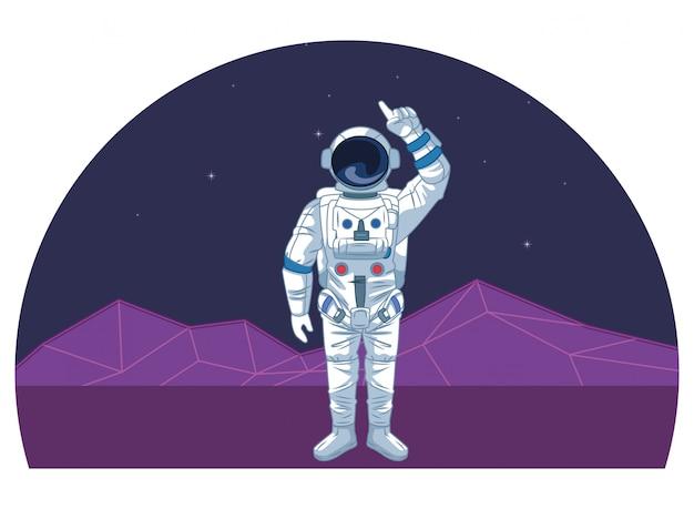 Astronauta em desenhos animados de exploração espacial