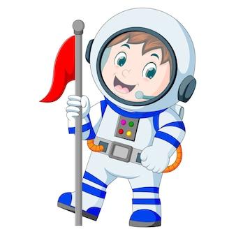 Astronauta em traje espacial branco sobre fundo branco