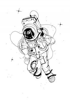 Astronauta em traje espacial. cosmonauta no espaço com estrelas. ilustração vetorial