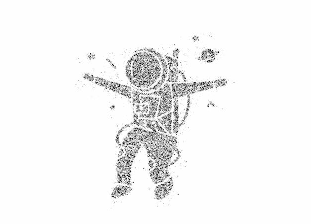 Astronauta em traje espacial, ilustração de particle art design.