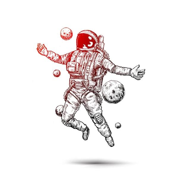 Astronauta em traje espacial sketch design illustration