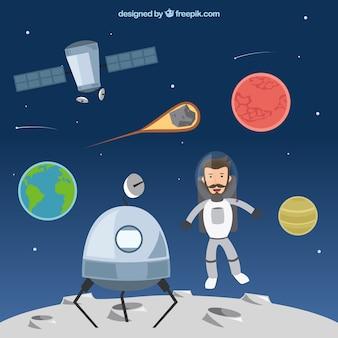 Astronauta engraçado na lua