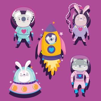 Astronauta espacial coala coelho e gato foguete ufo aventura explorar animais cartoon ilustração