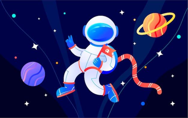 Astronauta espacial ficção científica futuro ilustração noite planeta tecnologia poster Vetor Premium