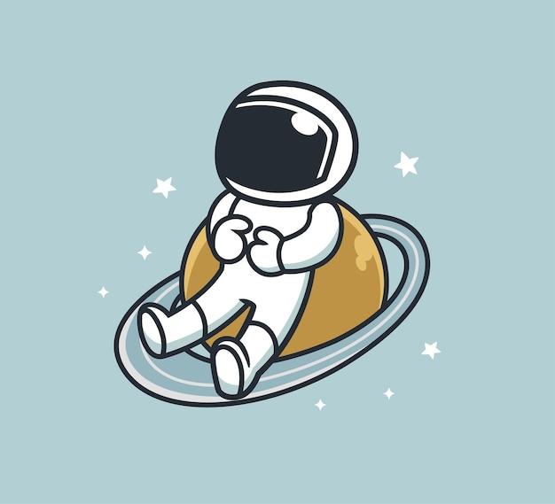 Astronauta está descansando em saturno
