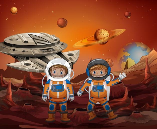 Astronauta, explorando o novo planeta