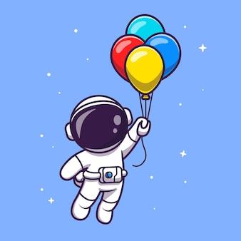 Astronauta flutuando com balões dos desenhos animados vector icon ilustração. conceito de ícone de tecnologia de ciência vetor premium isolado. estilo flat cartoon