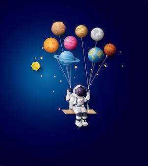 Astronauta flutuando na estratosfera. arte de papel e estilo de artesanato.
