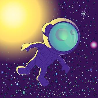 Astronauta flutuando no espaço