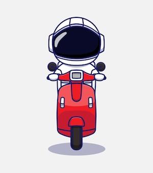Astronauta fofo andando de scooter