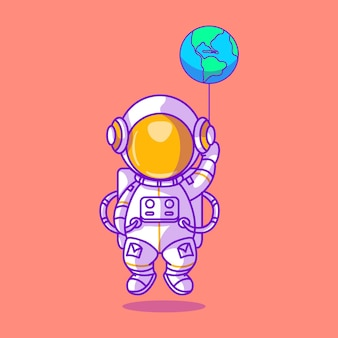 Astronauta fofo brincando com a ilustração do ícone de balão terrestre