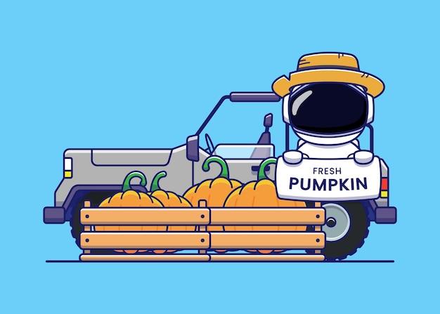 Astronauta fofo carregando abóbora fresca