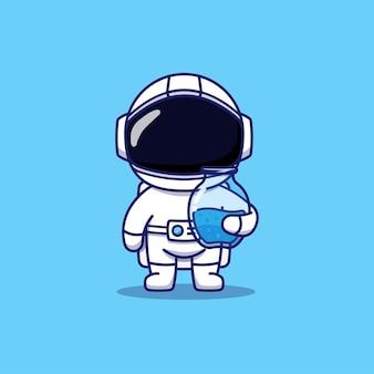 Astronauta fofo carregando uma jarra de água