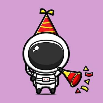 Astronauta fofo celebrando o ano novo com ilustração de ícone de desenho animado