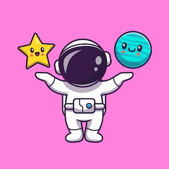 Astronauta fofo com estrela fofa e planeta fofo