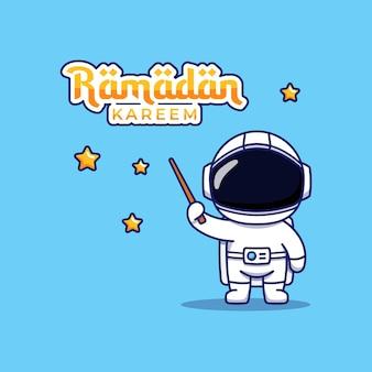 Astronauta fofo com saudação de ramadan kareem