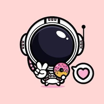 Astronauta fofo com sobremesa rosa