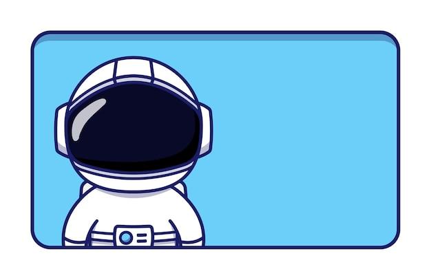 Astronauta fofo com um cartão em branco